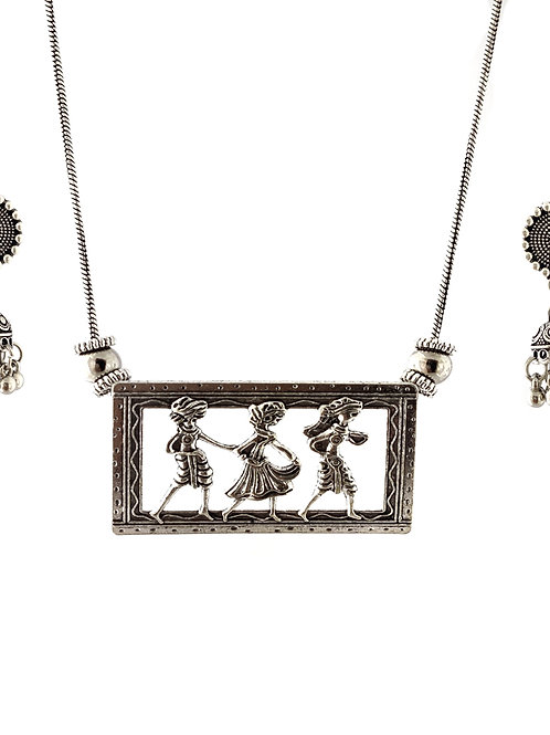 Oxidized Chain Necklace Set in Funky Walking Style Pendent  with  Jhumka