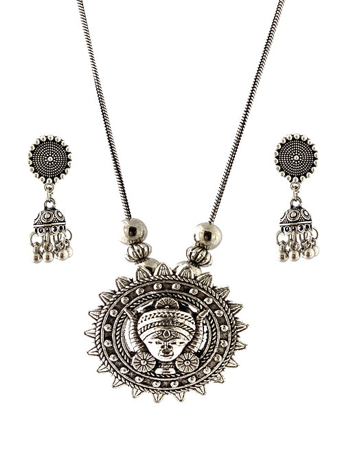 Oxidized Necklace Set in Stylish Round Shape Lord Durga Pendent  with  Jhumka