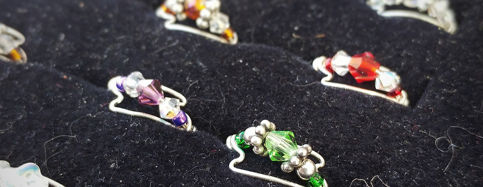 Crystal Sterling Wire Rings