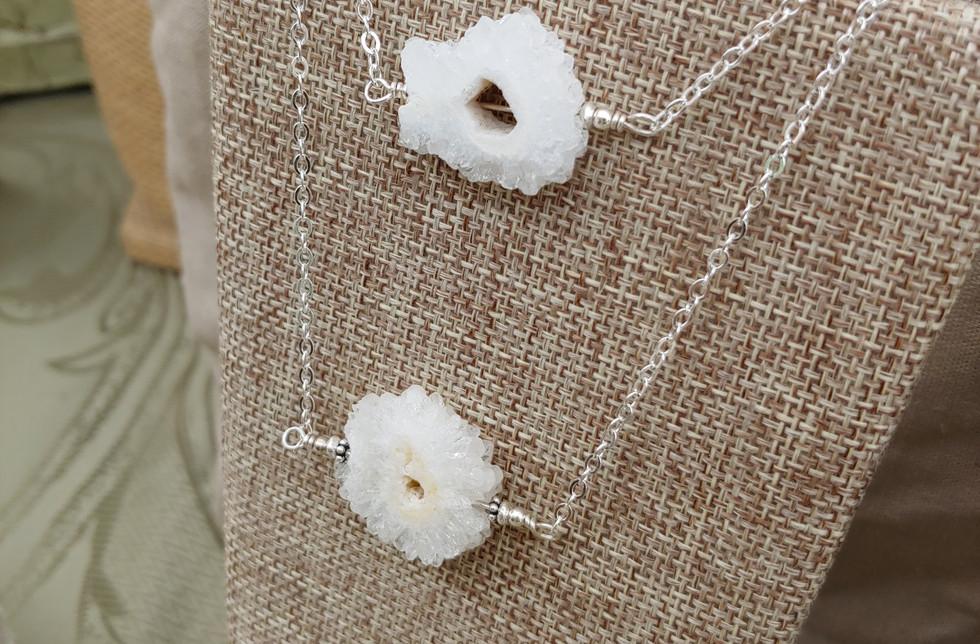 Raw Quartz Stalactite Slice Necklaces