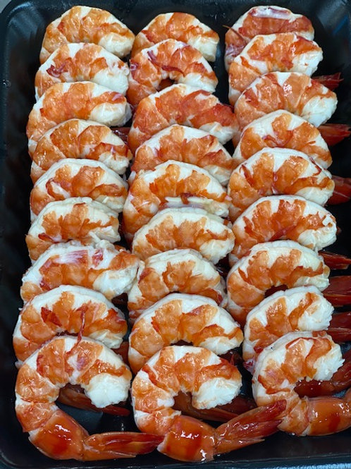 Cooked Tiger Prawns - Peeled Tail On (500g)
