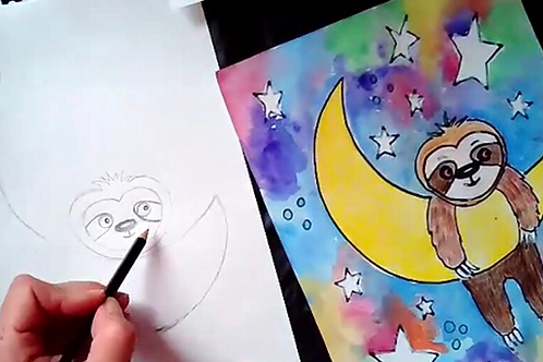 Starry Night Sloth Online Art Lesson