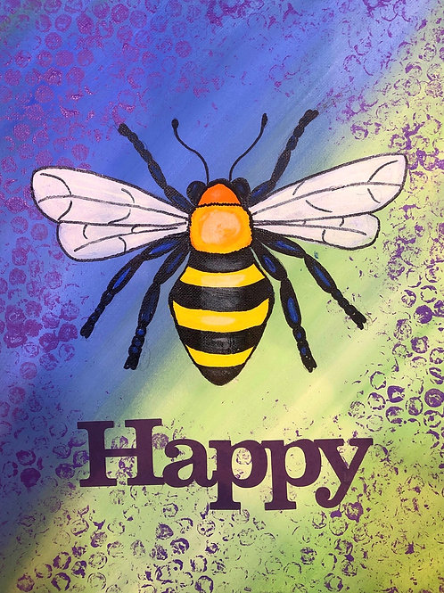 """Bee"" Happy or Kind Canvas Painting Kit"