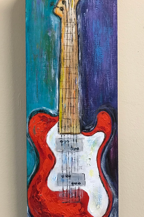 Electric Guitar Wood Panel Painting