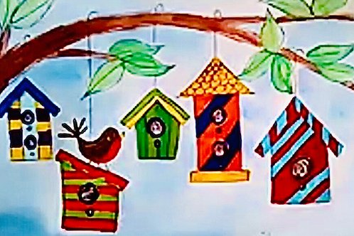 Whimsical Birdhouses Online Art Lesson