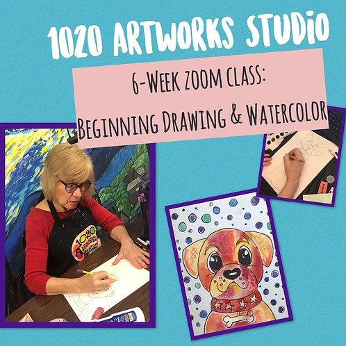 6-Week Zoom Class: Beg. Drawing/Watercolor Class