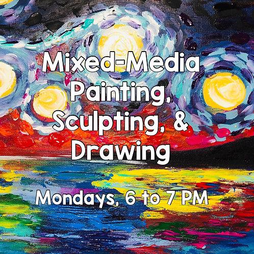Mixed-Media Art: Ages 9 & Older (Mondays, 6-7 PM)