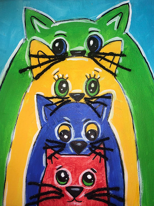 Colorful Cats Canvas Painting Kit