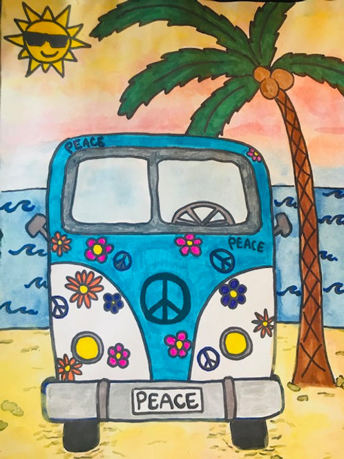 Camper Van at the Beach Online Art Lesson