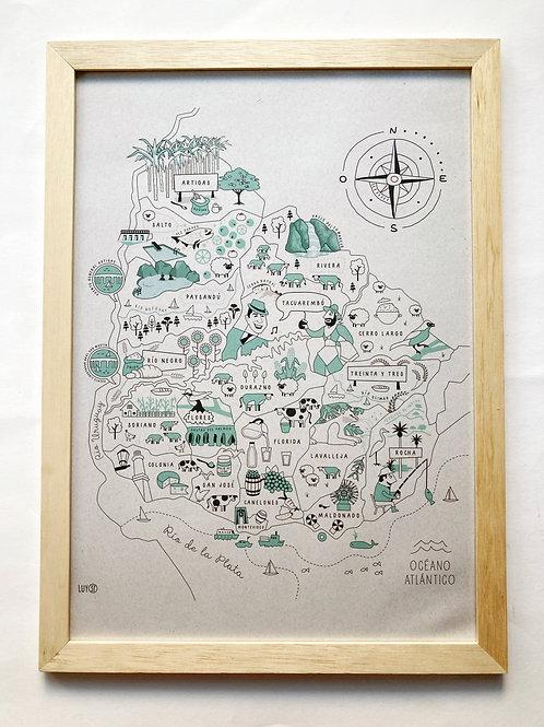 Cuadro mapa de Uruguay