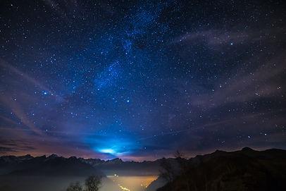The wonderful starry sky on Christmas ti
