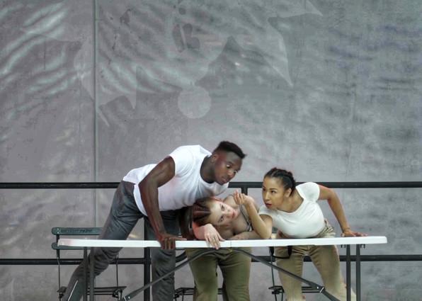 "LaneCoArts  Dancers: Fabricio Seraphin, Annie White, Nina Chong-Jimenez   Performance: ""Swerve"" at Bryant Park"