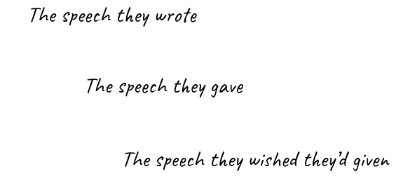 Three speeches of a presentation