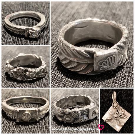 Zilverklei ringen gemaakt tijdens worksh