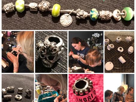 Verjaardag Workshop Zilverklei kado voor Ingrid, een mooie bedel armband als herinnering