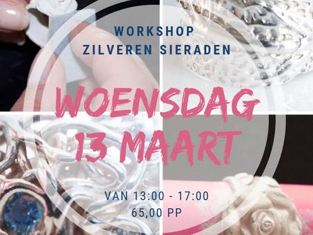 Woensdag 13 maart nog 4 plaatsen beschikbaar in de Korte Workshop Zilverklei