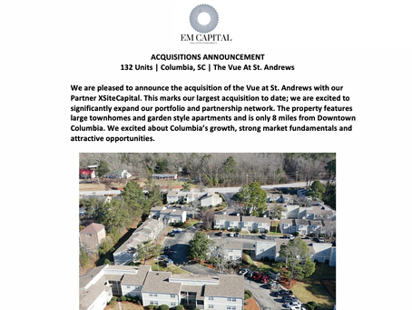 Announcing Our Acquisition of 132 Units in Columbia, SC