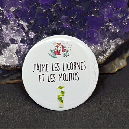 """Badge """" j'aime les licrones et les mojitos """""""