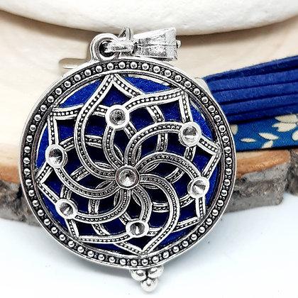 Bijou de sac  à parfumer - Fleur de vie - bleu