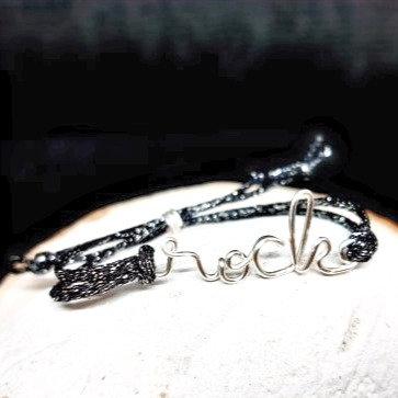 Bracelet cordon pailleté - Rock
