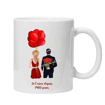 """Mug couple """"je t'aime depuis..."""""""