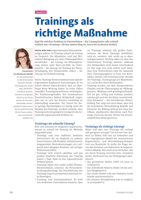 Trainings als richtige Maßnahme. Neuer Artikel im Magazin Training