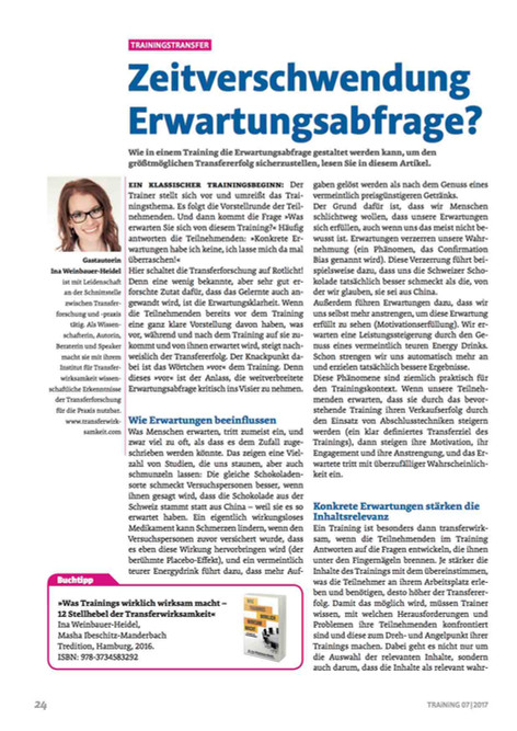 Erwartungsabfragen im Training sind Zeitverschwendung - Neuer Artikel im Magazin Training