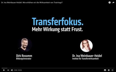Videointerview - Wie erhöhen wir die Wirksamkeit von Trainings? - Transfer Online Kongress