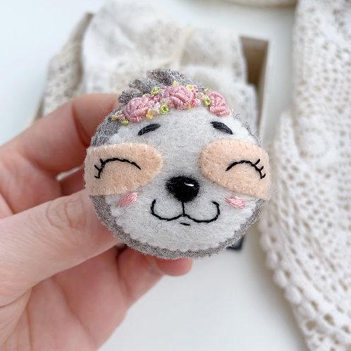 Sloth Girl Wool Brooch
