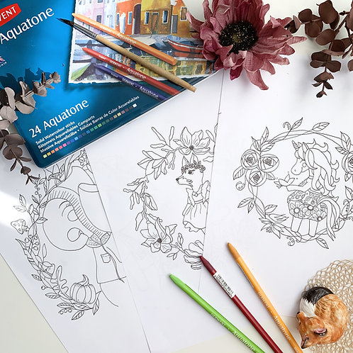 Printable Coloring Pages. Set of 3