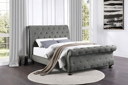 Crofton Gray Tufted Full OR Queen Sleigh Bed