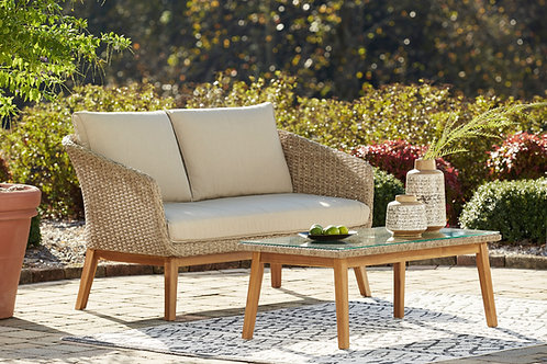 Crystal Cave Outdoor Loveseat with Table