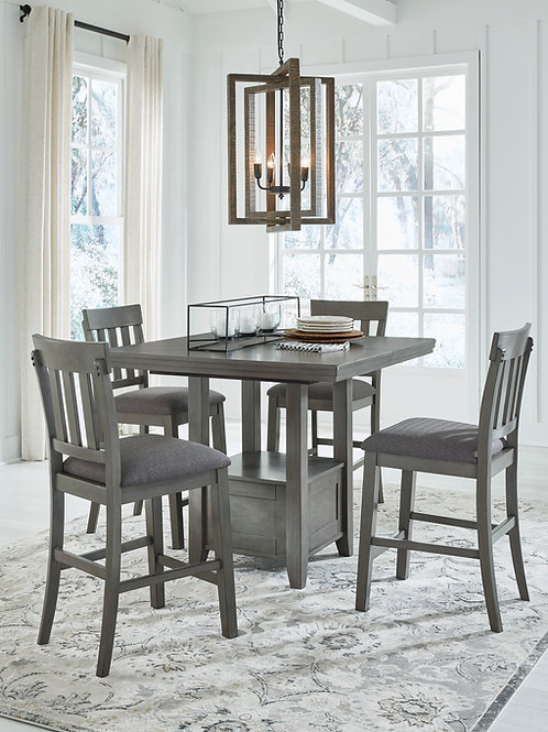 Hallenden Gray 5-PC Counter Height Extension Dining Set