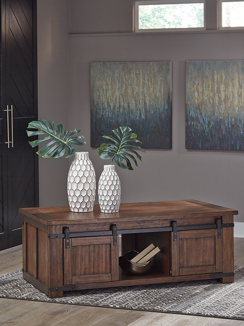 Budmore Rustic Brown Rectangular Cocktail Table