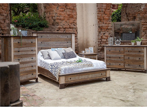 Antique Multi-Brown Panel Bedroom Set