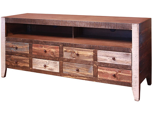 Antique Multicolor 8-Drawer TV Stand