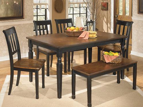 Owingsville Black/Brown 6-PC Dining Set