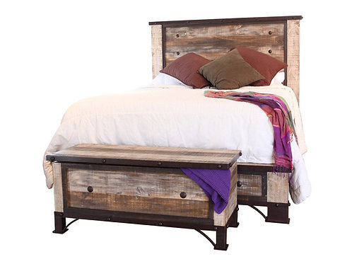 Antique Multi-Brown Panel Bed