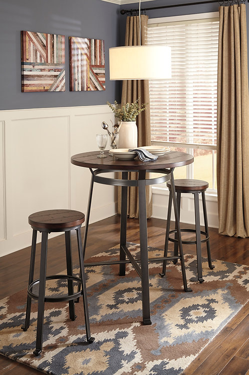 Challiman Rustic Dining Table and 2 Barstools