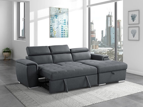 Berel Gray 2PC Sectional w/ Pull-out Bed & ADJ Headrests