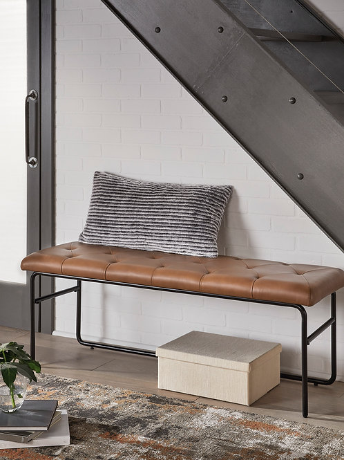 Donford Brown/Black Upholstered Accent Bench