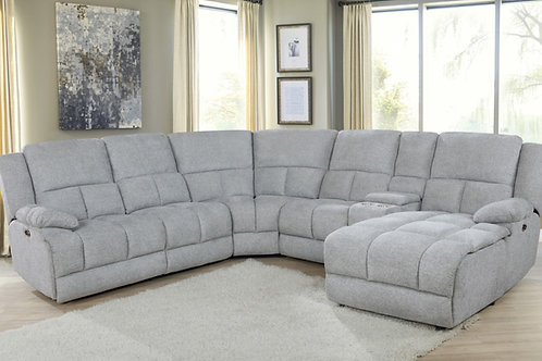Belize Grey 6-Piece Pillow Top Motion Sectional