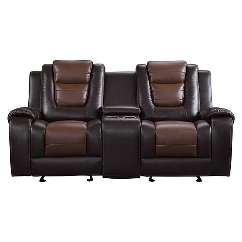 Briscoe Brown Faux Leather Reclining Loveseat