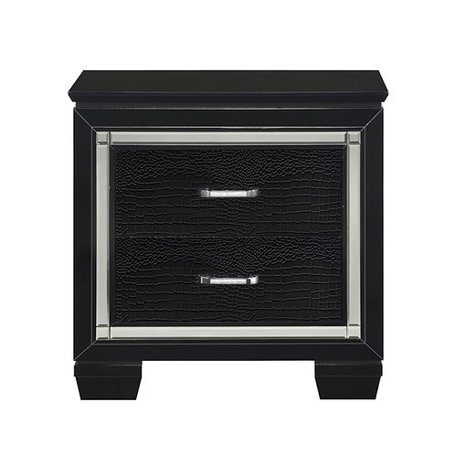 Allura Black Two Drawer LED Nightstand