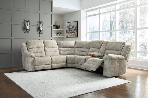 Family Den Pewter Sectional w/ RAF Console