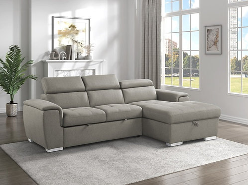 Berel Brown 2PC Sectional w/ Pull-out Bed & ADJ Headrests