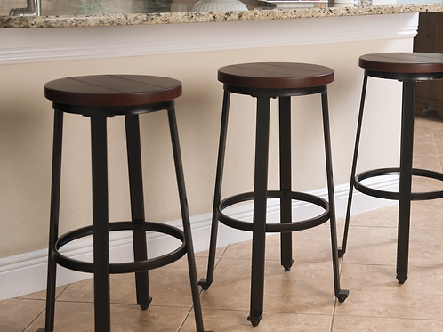 Set of 2 Challiman Rustic Brown Barstools