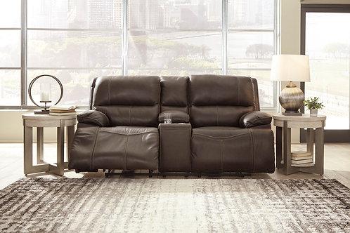 Ricmen Walnut Leather Power Reclining Loveseat w/Adjustable Headrest