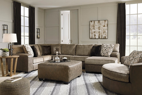 Abalone Chocolate 3-PC RSF Sectional
