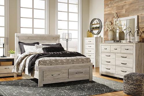 Bellaby Whitewash Queen Platform Storage Bedroom Set